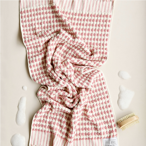 Miss April Turkish Bath Towel - Pom Pom Pale Pink