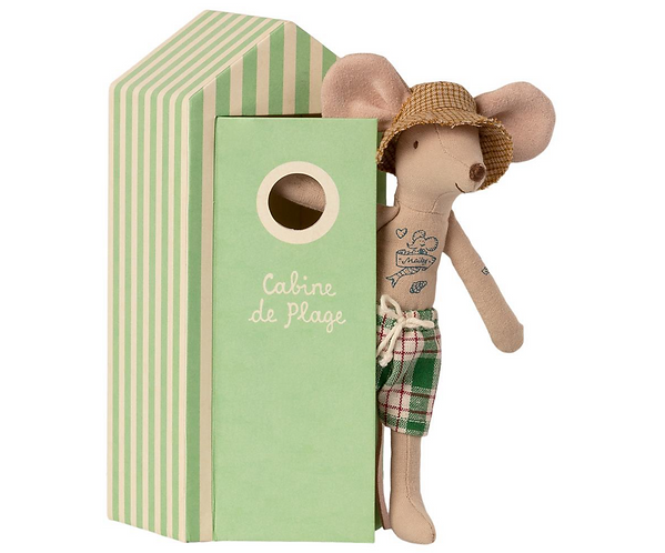 Maileg Beach Dad Mouse with Cabin