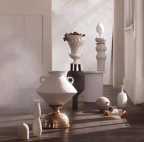 Cato White Textured Organic Shaped Vase