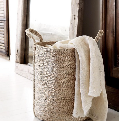 Handwoven jute laundry basket