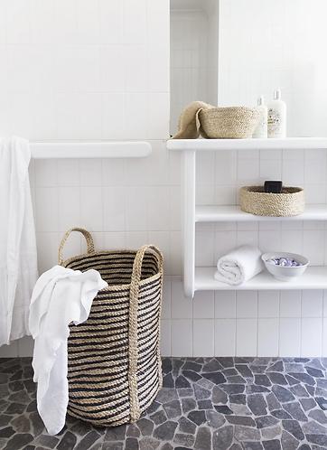 Handwoven jute laundry basket - Stripe