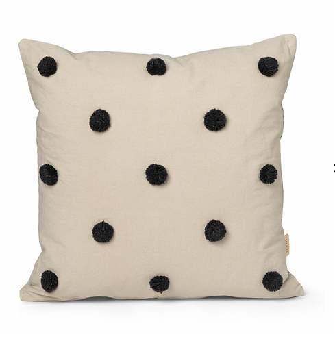 ferm LIVING Dot Tuffed Cushion - Sand/black
