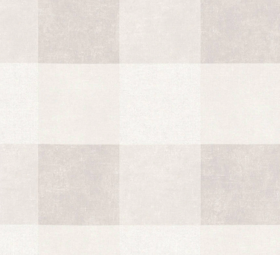 Beige and White Gingham Wallpaper