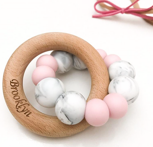 Organic wood and silicone teether