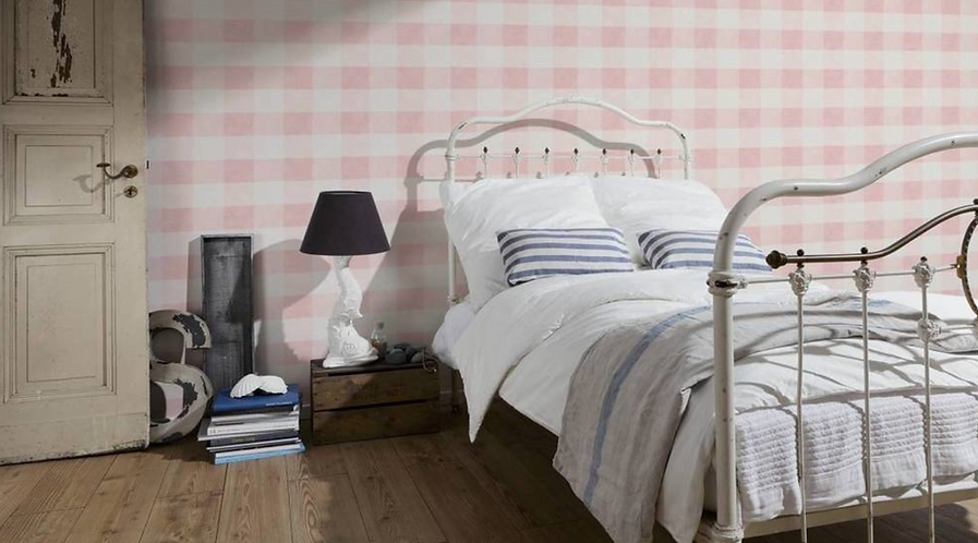 Pink and White Gingham Wallpaper