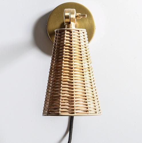 Rattan and Brass wall mounted Lighting