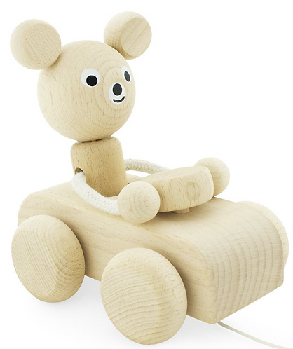 Pull along toy mouse in car