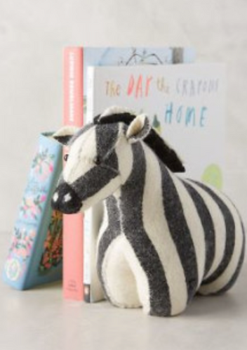 Felt zebra bookends