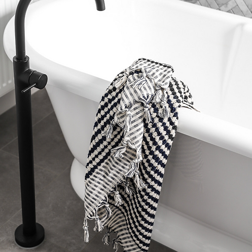 Miss April Turkish Bath Towel - Pom Pom Navy