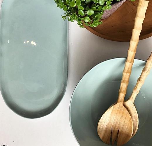 Pastel oval ceramic platter large