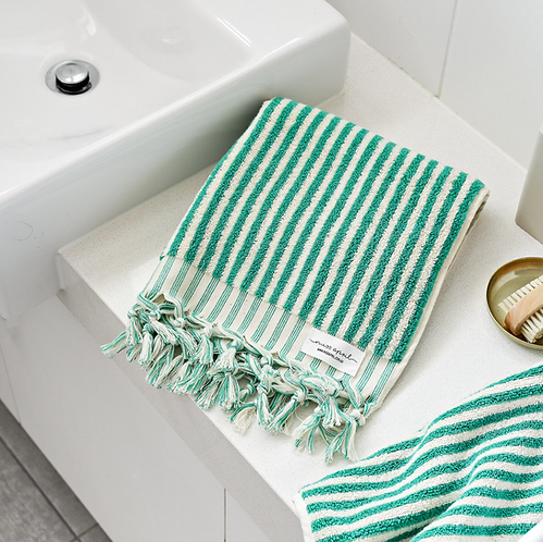 Miss April Turkish Hand Towel - Green Lines