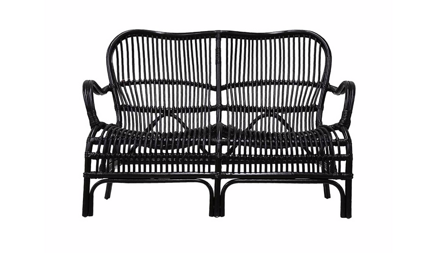 Rattan Veranda Two Seater Chair - Black