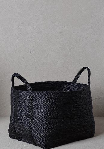 Handwoven large jute basket - Black