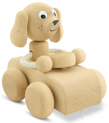 Pull along toy puppy in car