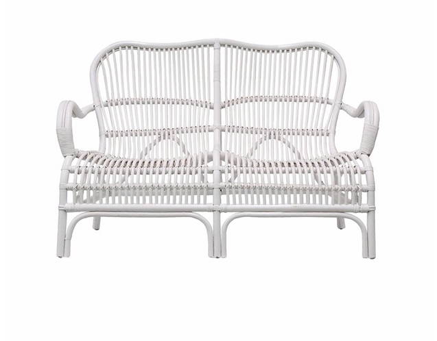 Rattan Veranda Two Seater Chair - White