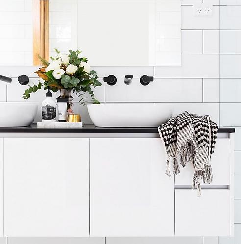 Miss April Turkish Hand Towel - Pom Pom Black and White