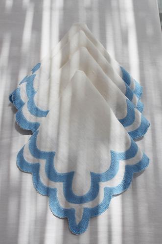 Scalloped Linen Napkins Set/4 - Dahlia