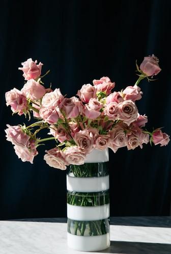 Black and White Stripe Glass Vase