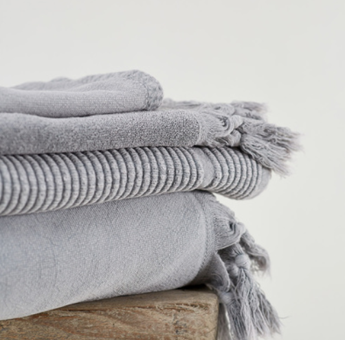 Vintage Wash Ribbed Bathmat - Grey Wash