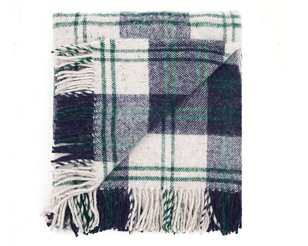 Recycled Wool Travel-Picnic Rug Navy/Forest