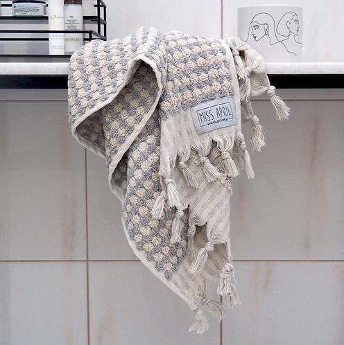 Miss April Turkish Hand Towel - Pom Pom Pale Grey