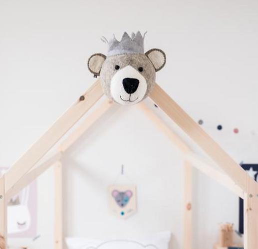 Felt bear with crown