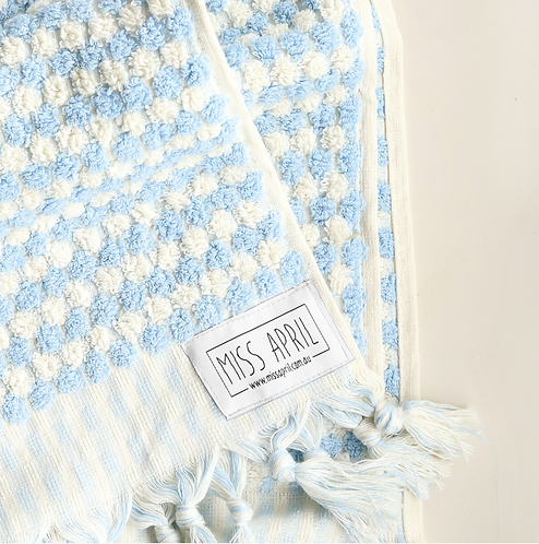 Pale Blue Pom Pom Bath Towel