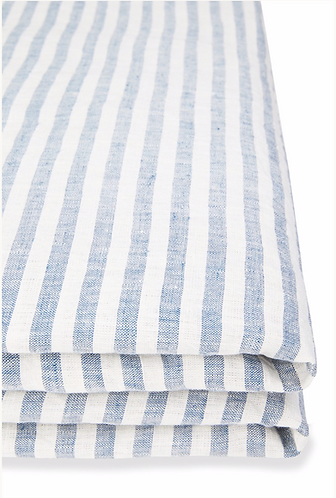 French Stripe European linen fitted sheet super king - Blue