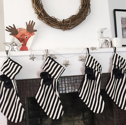 Stocking - Thick Black and White Stripe