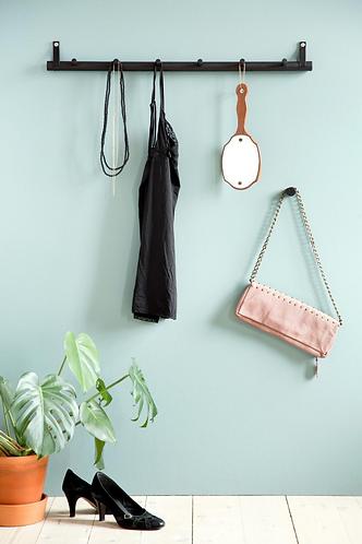 Black oak and leather hook rack 6