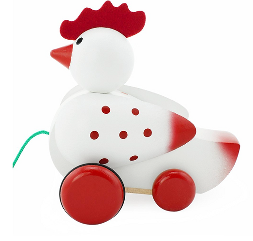 Wooden pull along toy chicken
