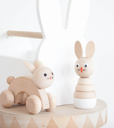 Wooden stacking toy bunny