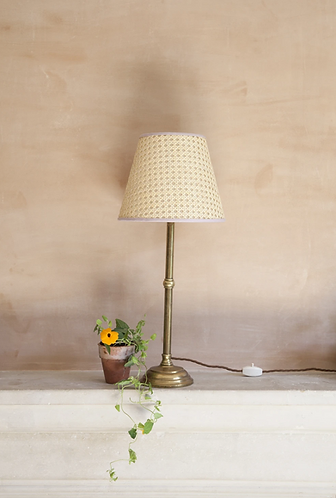 Cane Lampshade Small - pink trim