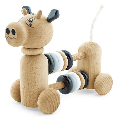 Wooden counting toy cow