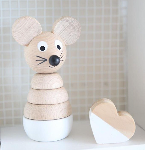 Wooden stacking toy mouse