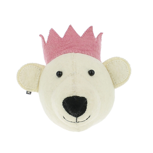 Felt bear with pink crown