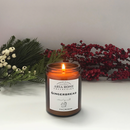 Aria Rose gingerbread scent candle