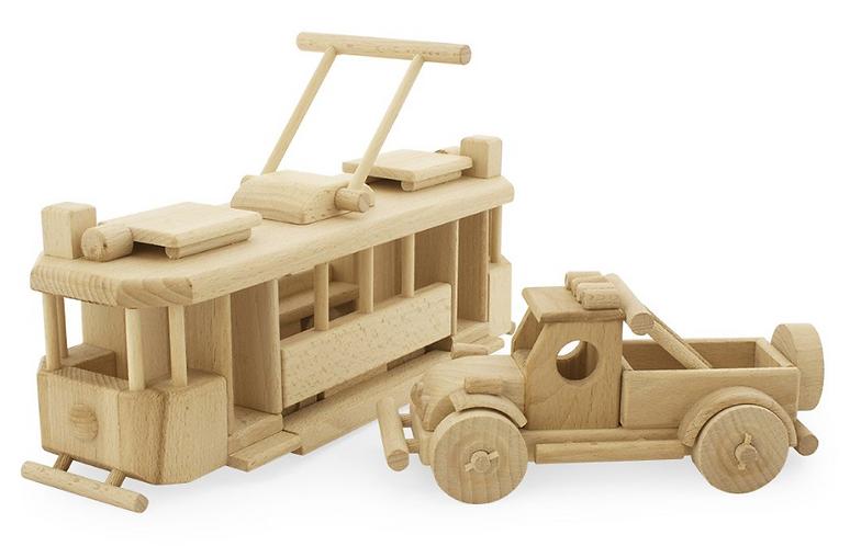 Wooden push along toy car
