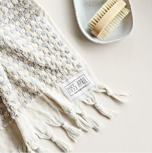 Miss April Turkish Bath Towel - Pom Pom Pale Grey