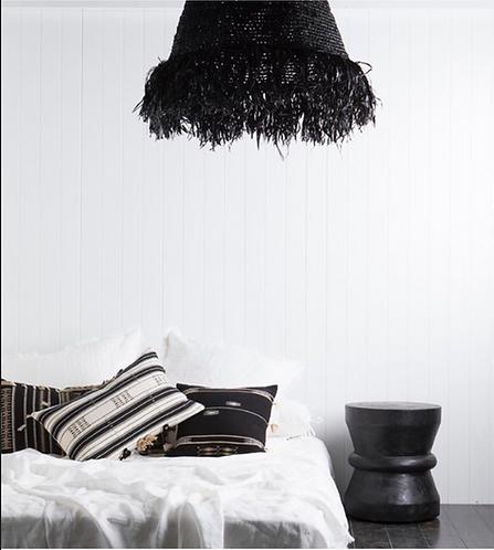 Fringe Raffia Pendant - Black