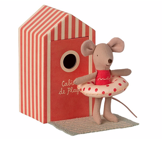 Maileg Beach Mouse with Little Cabin