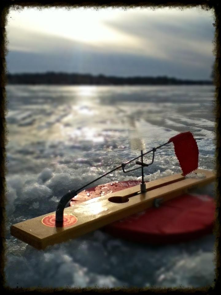Tip up fishing Walleye Madison, WI