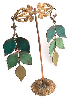 Torch and Kiln Fired enamel leaf earrings