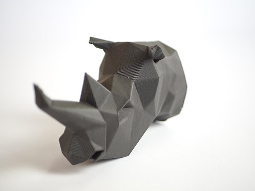 Geometric Rhino Head. 3D printed in recycled PLA.