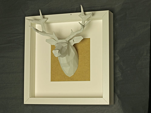 Geometric Stag Head Framed. 3D printed and framed. recycled PLA.