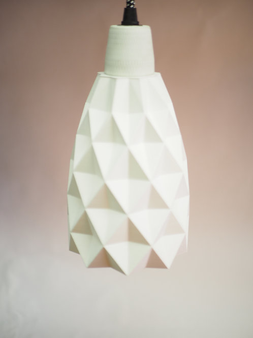 Geometric lamp shade. 3D printed with recycled plastic.