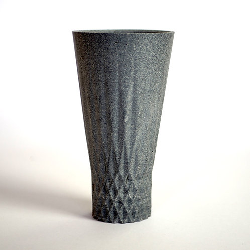 Geometric vase. 3D printed mould and cast bio-resin and recycled rubber.