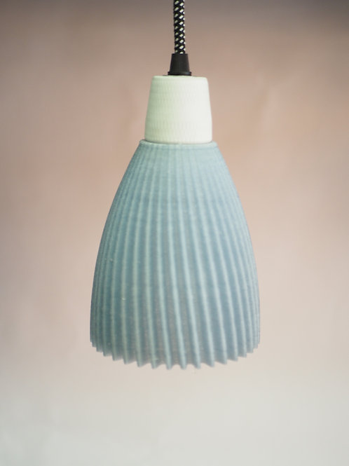 Geometric lamp shade. 3D printed with recycled water bottles.