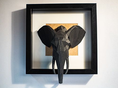 Geometric Elephant Framed. 3D printed and framed. recycled PLA.