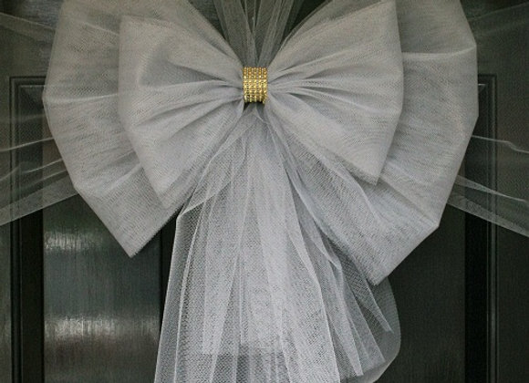Christmas Door Bow, Silver Bow Gold Diamante centre, Dress your door in style this festive season - UK, Essex, Kent London